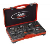 Coffret douilles et accessoires 1/4 et 1/2 - 52 outils SAM OUTILLAGE-75RS1Z