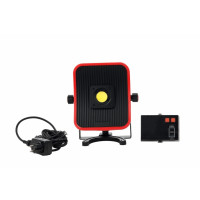 Projecteur portable de chantier LED 50W sur batterie ou secteur rouge - 5m de câble H05RNF 2x1 - 4500 lumen - 6500°K - interrupteur on/off de la lampe - prise USB - batterie li-ion avec indicateur de charge - temps de charge : 3 heures -CEBA-DUAL50