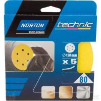 Papier abrasif 150 mm G80 (5x) NORTON - 66261139297 (Accessoires Ponceuses-Polisseuses)