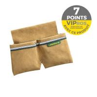Bipoche croute de cuir + porte tenaille + bande réfléchissante Batipro BP050B pour maçons/coffreurs- 492050 (menuisier)