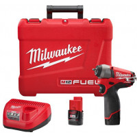 "MILWAUKEE- M12CIW14-202C Boulonneuse  à choc compacte carré 1/4"" FUEL 12V / 2,0 Ah + 2 batteries + 1 chargeur + 1 coffret - 4933440415"