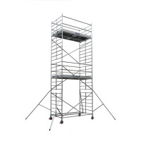 Echafaudages roulants DUARIB Aluminium DOCKER2 150 - LONGUEUR 2.05 m HAUTEUR PLANCHER 3.9 m -GC LISSES/SOUS LISSES- 205404