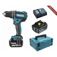 Perceuse visseuse à percussion 18 V Li-Ion 5 Ah Ø 13 mm  + 3 batteries + chargeur + coffret MAKPAC MAKITA -DHP482RT3J
