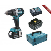 Perceuse visseuse à percussion 18 V Li-ion 5 Ah Ø 13 mm + 2 batteries + chargeur + coffret MAKPAC MAKITA -DHP484RTJ