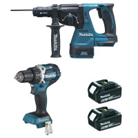 Ensemble de 2 machines 18 V Li-Ion 5 Ah (DDF484 + DHR243) MAKITA - DLX2191TJ