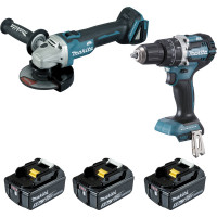 Ensemble de 2 machines (DGA506 + DHP484)+ 2  batteries + 1 chargeur + 1 coffret  MAKITA -DLX2210TJ1