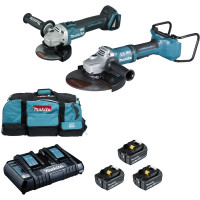 Ensemble de 2 machines BL1850B (DGA900 + DGA506) MAKITA - DLX2245PT1 (Pack Outillages Electroportatifs)
