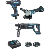 Ensemble de 3 machines MAKITA 18 V Li-Ion 4 Ah (DDF482 + DGA504 + DHR241) - DLX3078MJ