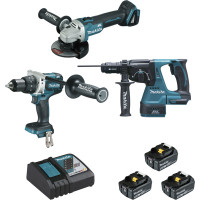 Ensemble de 3 machines MAKITA BL1850B (DGA506 + DDF481 + DHR243) - DLX3092TJ (Pack Outillages Electroportatifs)