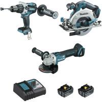 Ensemble de 3 machines MAKITA  18 V Li-Ion 5 Ah (DHP481 + DGA506 + DHS680) - DLX3095PTJ