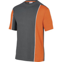 DELTA PLUS- TEE-SHIRT COTON GAMME LEISURE Gris / Orange -MSTSTGR0
