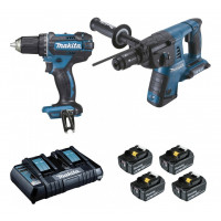 Pack 2 machines 18V 4Ah : Perforateur burineur DHR264 + perceuse visseuse DDF456 MAKITA DLX2138PTJ