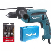 Perceuse à percussion Ø 13 mm 680 W MAKITA+ 1 coffret de 9 forêts + 1  coffret de transport- HP1641K1X