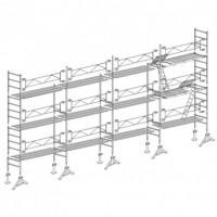 Échafaudage ALTRAD VITO49 longueur 13 m hauteur 7 m lot de 91 m² - Structure avec garde corps fixe avec planchers et plinthes- L49091GFPP