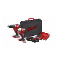 Pack 2 produits MILWAUKEE 18V BRUSHLESS livré avec deux batteries et chargeur en coffret M18 BLPP2B-502C - 4933448451