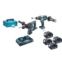Ensemble de deux machines MAKITA DHR264 (Perfo-burineur SDS-Plus) + DHP481 (Perceuse visseuse à percussion) + 4 batteries + coffret MAK PAC - DLX2101PTJ