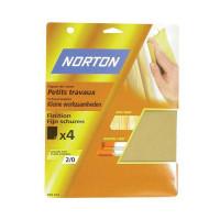 4 feuilles de ponçage NORTON 230*280 à main Papier de verre petits travaux Grain 2/0 - 63642516116