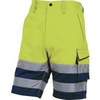 Bermuda de travail haute visisbilité coton / polyester Jaune Fluo et bleu marine DELTA PLUS - PHBERJM0