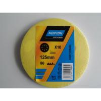 Papier à poncer disques abrasifs 125 lot: x10 neufs grain 80 NORTON - 66261095555