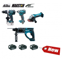 Ensemble de 4 machines 18 V Li-Ion 4 Ah (DDF458 + DTD152 + DHR202 + DGA452) MAKITA - DLX4054MX1