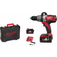 MILWAUKEE- HD18 PD-402C Perceuse à percussion 18V 4Ah + 2 batteries + 1 chargeur + 1 coffret- 4933441255
