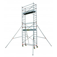 Echafaudage aluminium SERENITE longueur 2m05 largeur 0,69 m hauteur de travail 8m90 3 niveaux CENTAURE ST205 - 504747