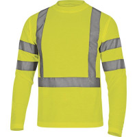 TEE SHIRT HV MANCHES LONGUES MAILLE PIQUEE 100% POLYESTER 235 g/m² JAUNE FLUO DELTA PLUS - STARJA0 (T-shirts de travail)