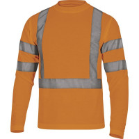 TEE SHIRT HV MANCHES LONGUES MAILLE PIQUEE 100% POLYESTER 235 g/m² ORANGE FLUO DELTA PLUS - STAROR0 (T-shirts de travail)